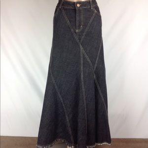 Laundry Shelli Segal Denim Jean Maxi Skirt Sz 12